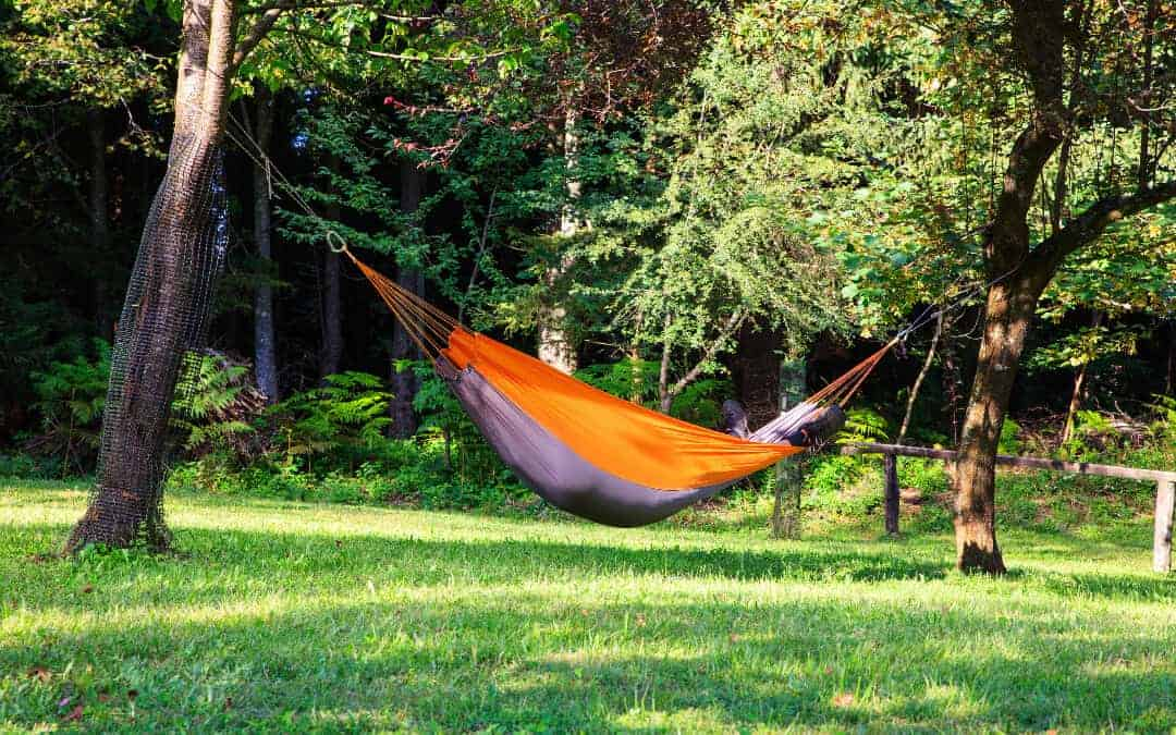 Ultimate Hammock Camping Guide Banner: An orange hammock hung between two trees in the wilderness.