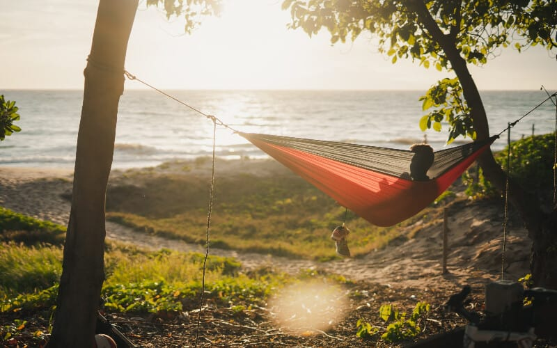 A man relaxing in a hammock a safe distance away from the ocean.