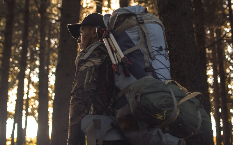 A man with a large hiking backpack in the forest.